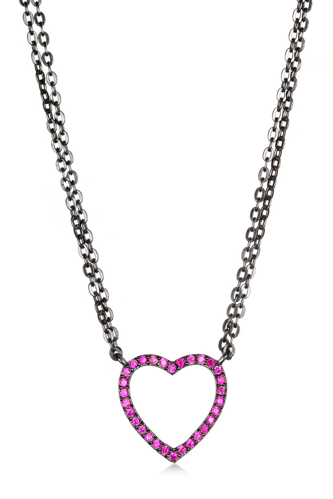 Sapphire Heart Necklace - Pink Black
