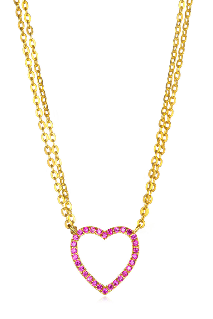 Sapphire Heart Necklace - Pink Gold