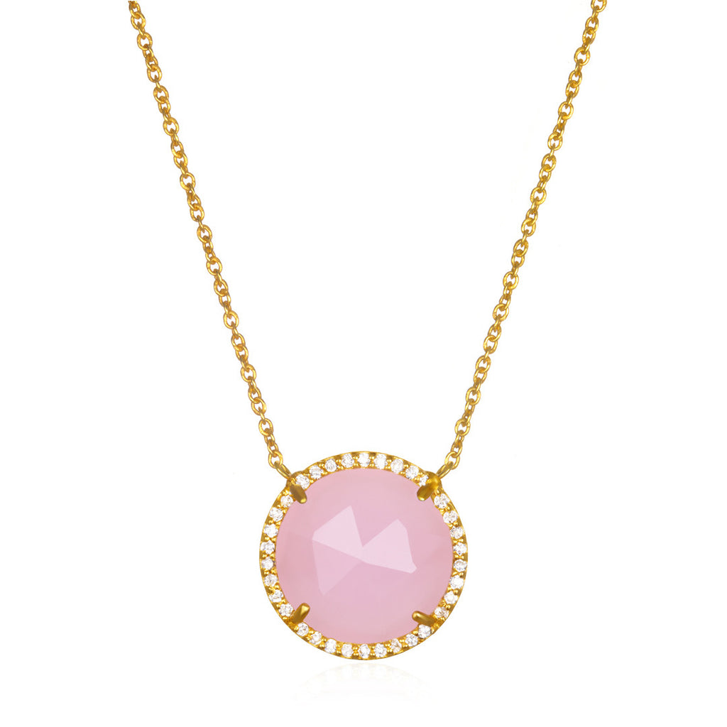Paris Round Necklace - Pink Gold