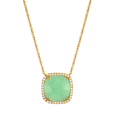 Paris Cushion Necklace - Mint Gold