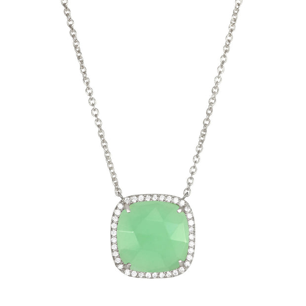Paris Cushion Necklace - Mint Silver