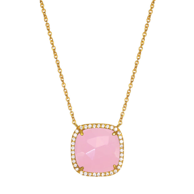 Paris Cushion Necklace - Pink Gold