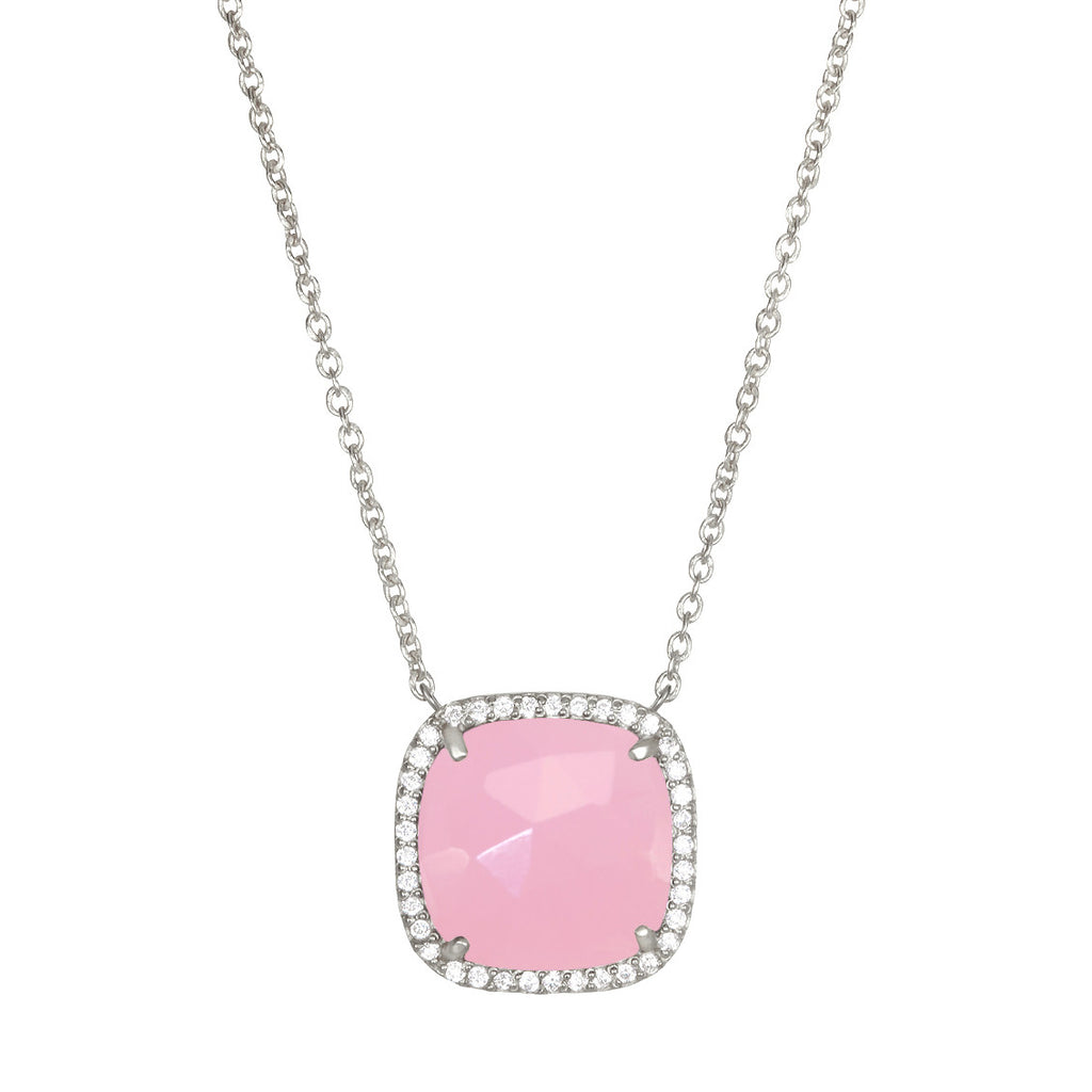 Paris Cushion Necklace - Pink Silver