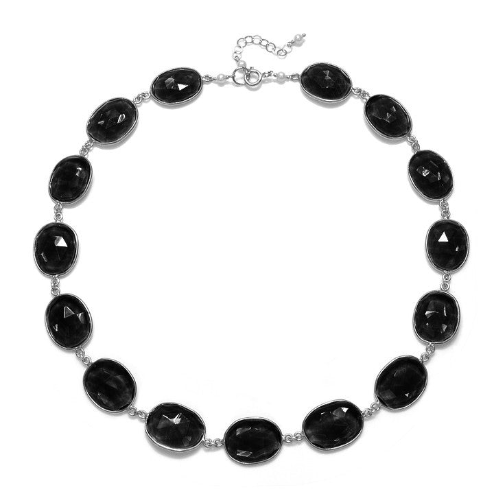 Cabo Link Necklace-Black Garnet Silver