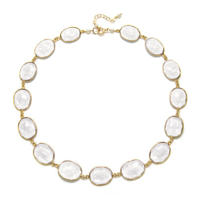 Cabo Link Necklace-Crystal Clear Gold