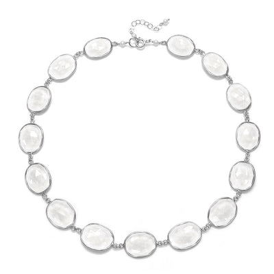 Cabo Link Necklace-Crystal Clear Silver