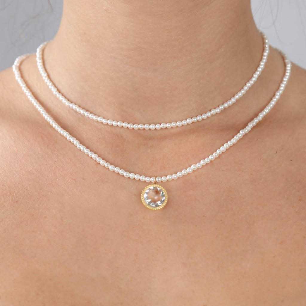 Daphne Necklace-Pearl & White Topaz