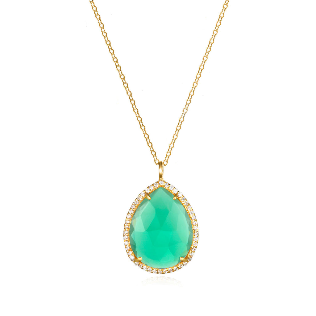 Paris Teardrop Necklace Aqua Gold