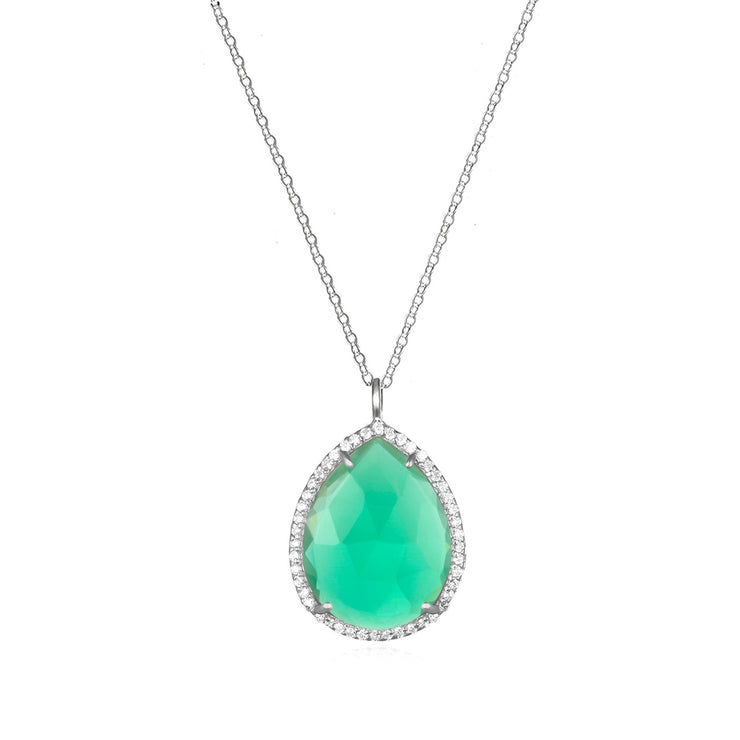 Paris Teardrop Necklace Aqua Silver