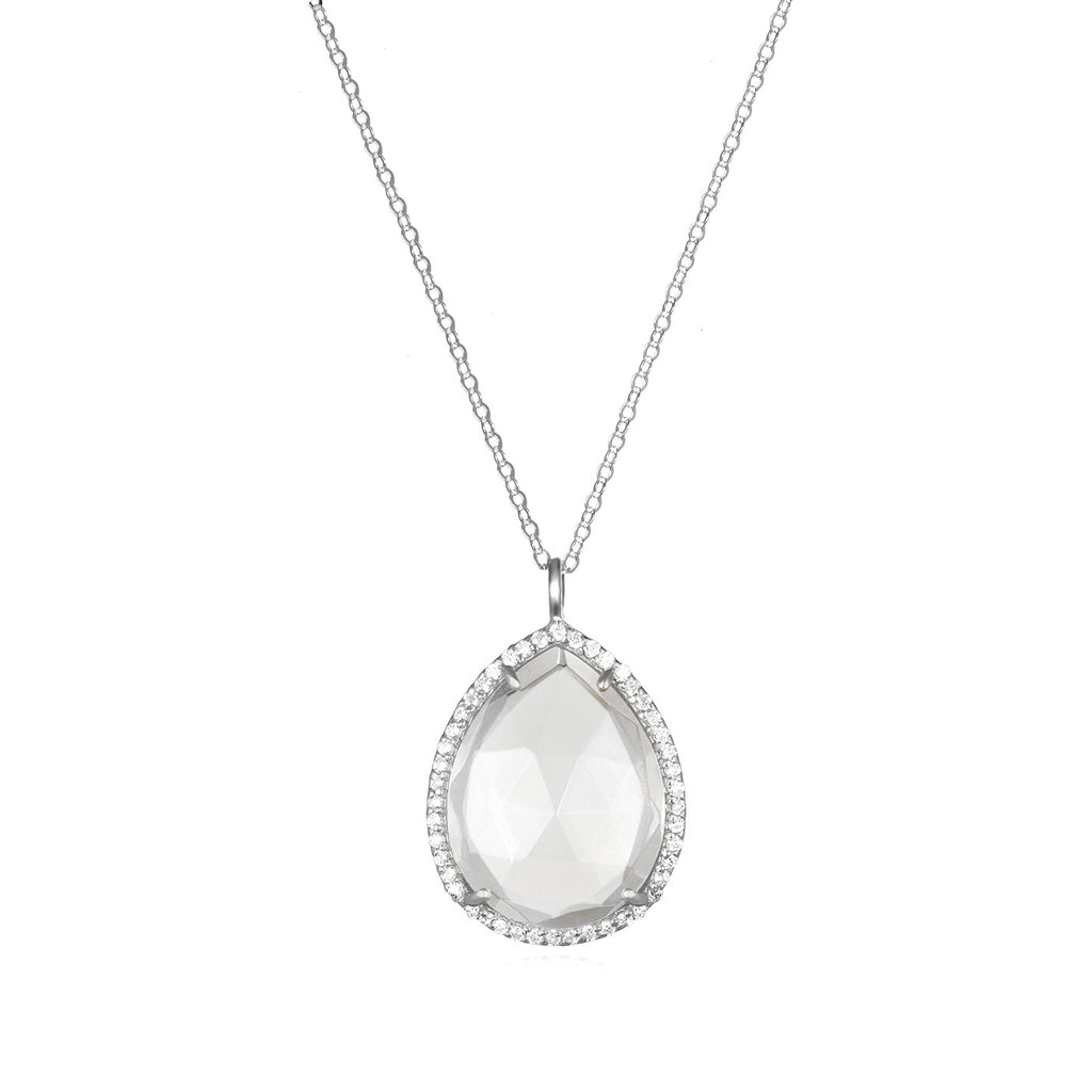 Paris Teardrop Necklace Clear Silver