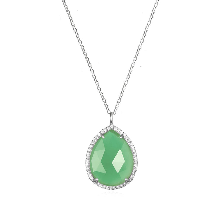 Paris Teardrop Necklace Mint Green Silver