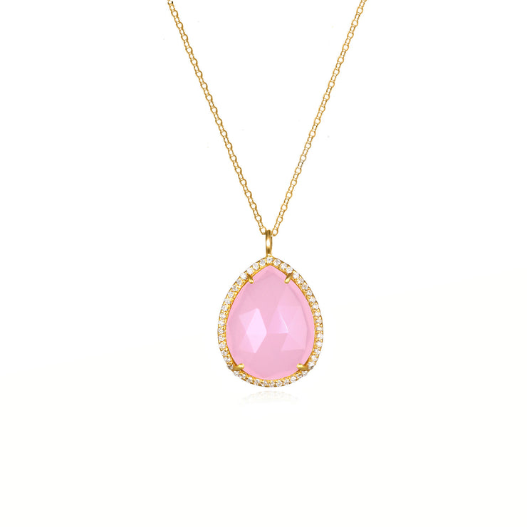 Paris Teardrop Necklace Pink Gold