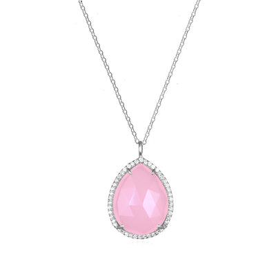 Paris Teardrop Necklace Pink Silver