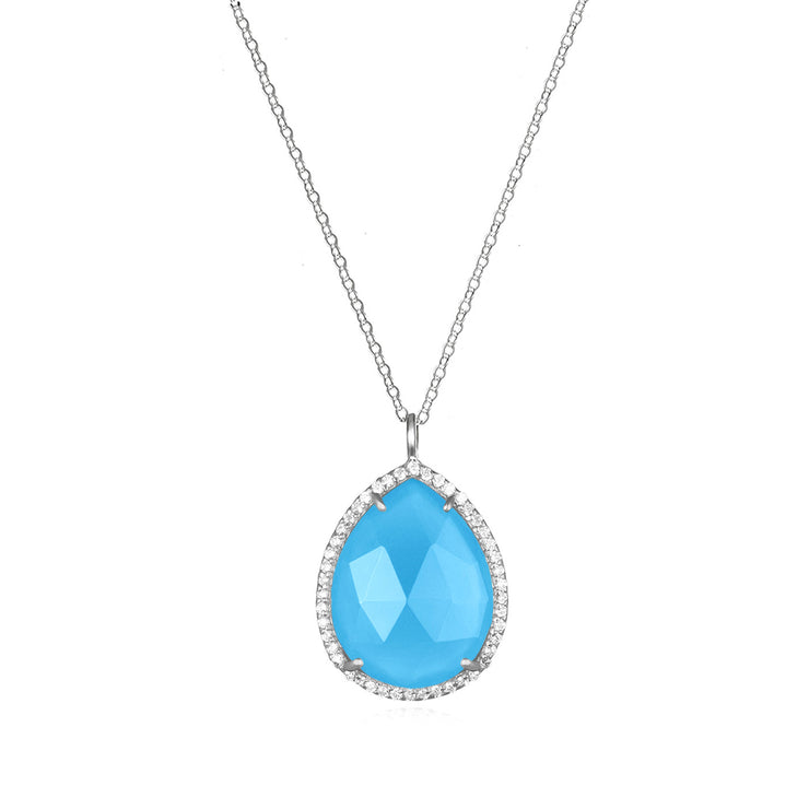 Paris Teardrop Necklace Turquoise Silver