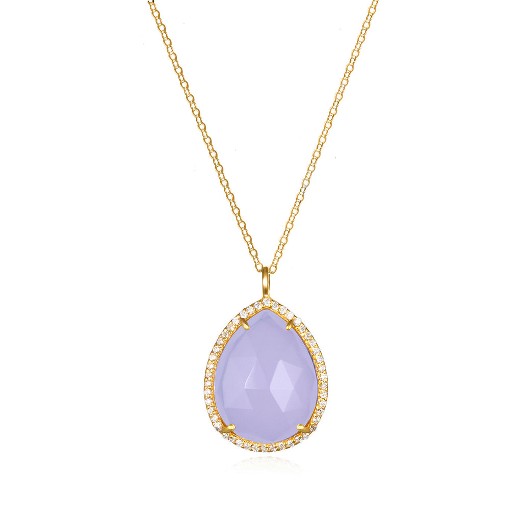 Paris Teardrop Necklace Purple Gold