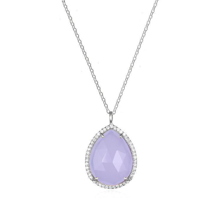 Paris Teardrop Necklace Purple Silver