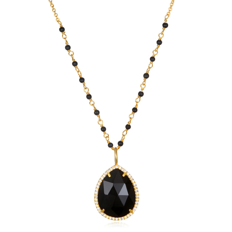 Paris Rondelle Necklace-Black Gold