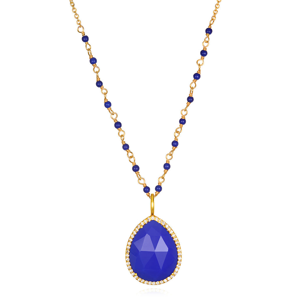 Paris Rondelle Necklace-Royal Blue Gold
