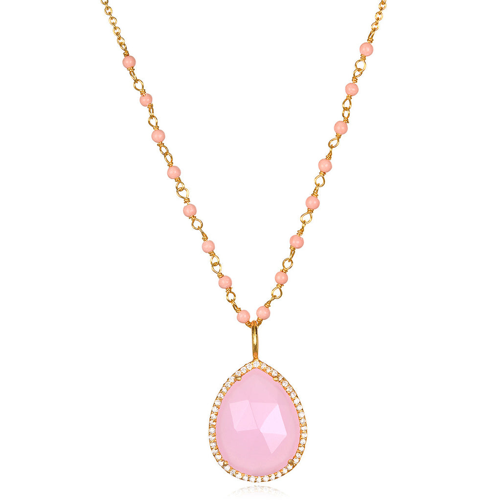 Paris Rondelle Necklace-Light Pink Gold