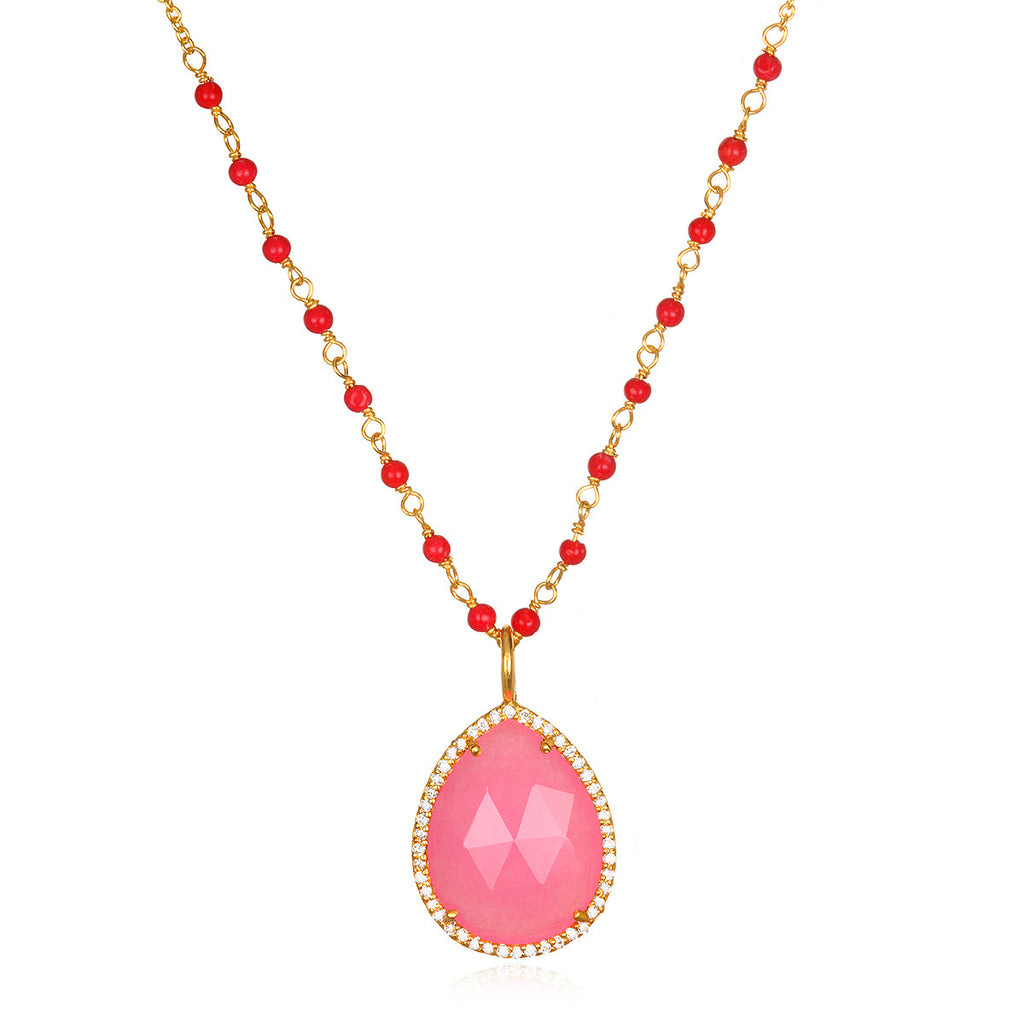 Paris Rondelle Necklace-Berry Pink Gold