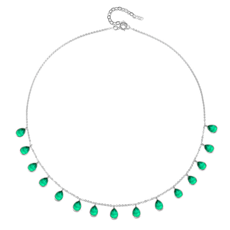Cabo Gems Necklace-Emerald Teardrop