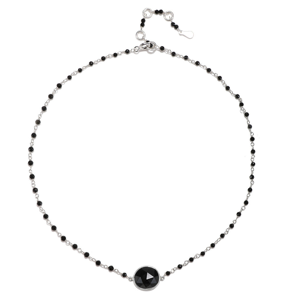 Lecco Necklace-Black Spinel Silver