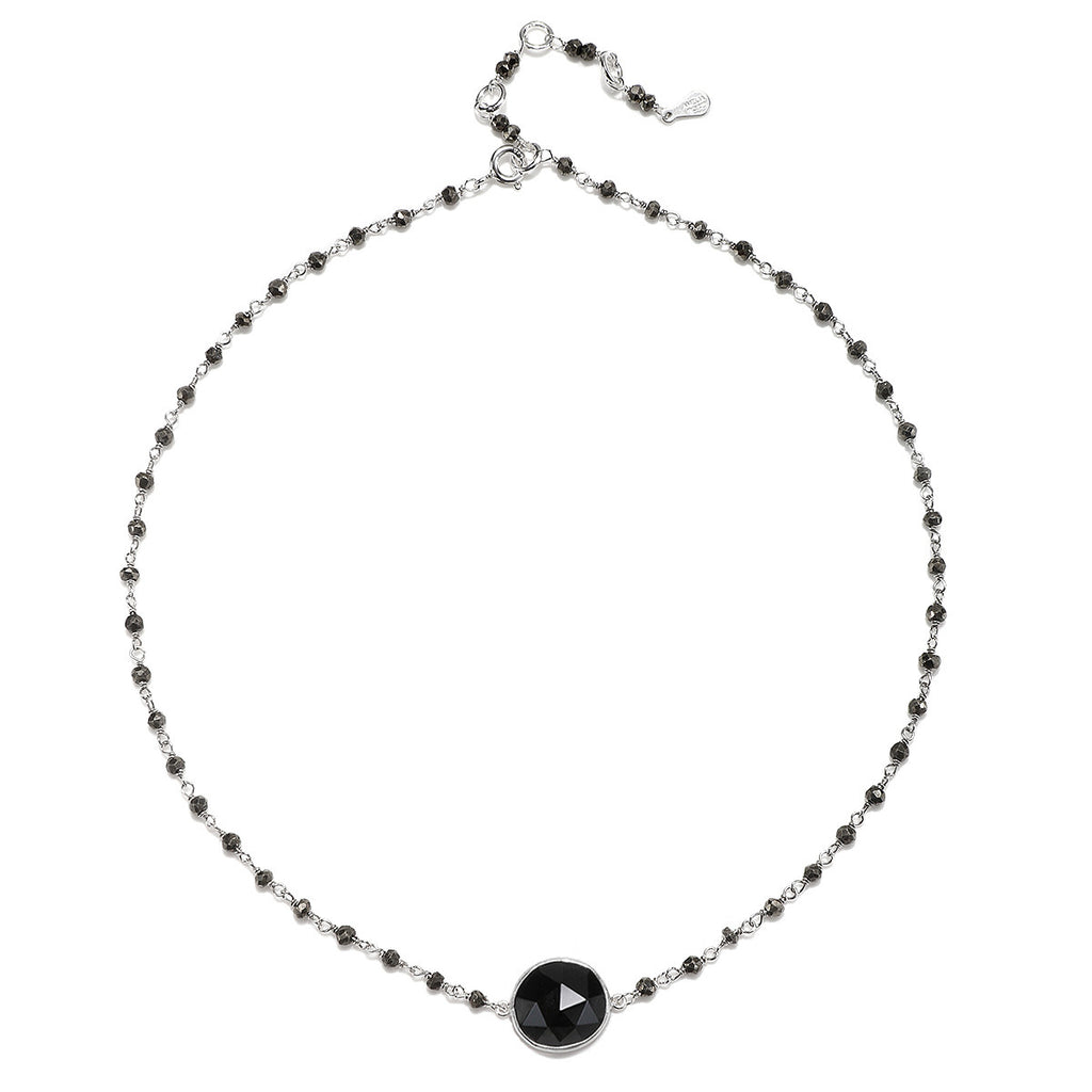 Lecco Necklace-Pyrite Black Spinel Silver