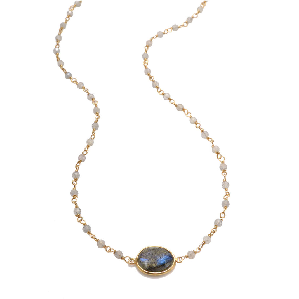 Lecco Necklace-Labradorite Gold