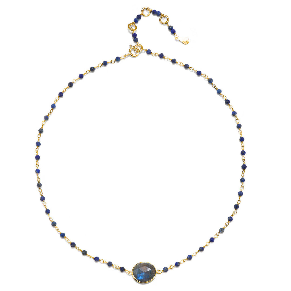 Lecco Necklace-Labradorite Lapis Gold