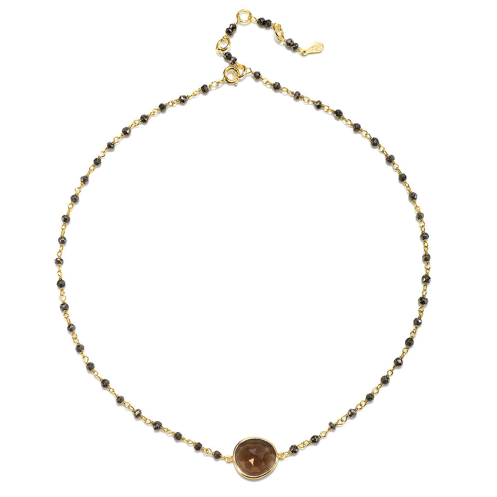 Lecco Necklace-Smoky Pyrite Gold