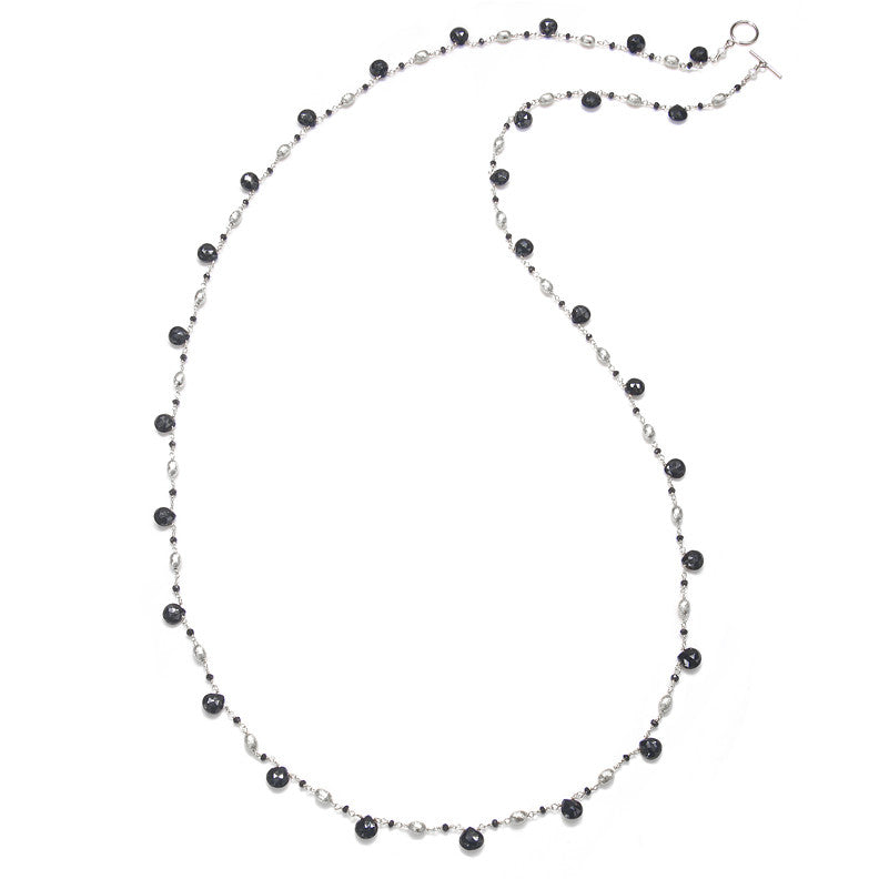 Long Cabo Quartz Necklace-Black Silver