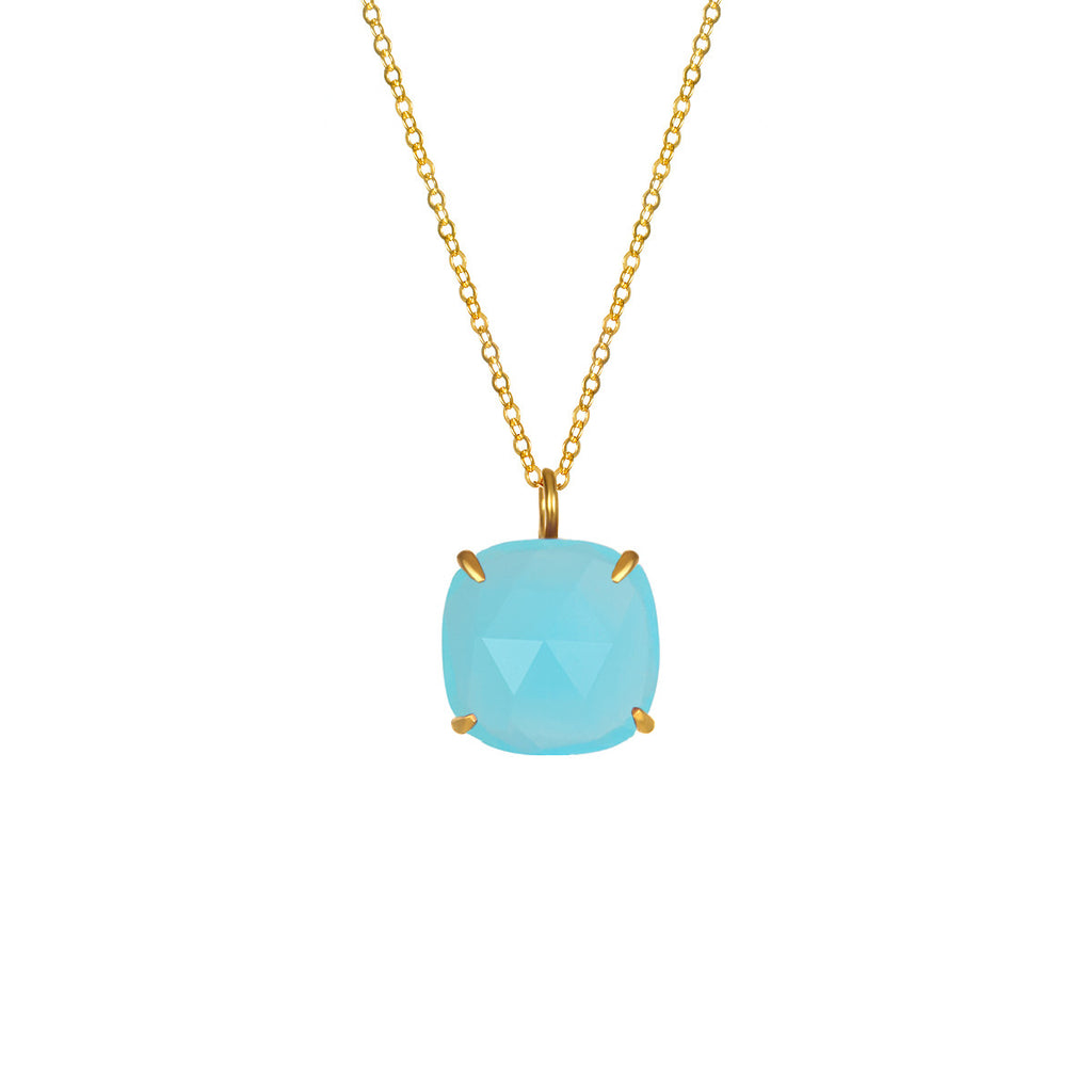 Catalina Single Cushion Necklace Aqua Chalcedony Gold