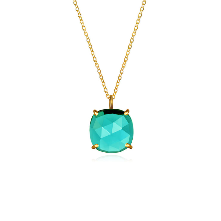Catalina Single Cushion Necklace Aqua Gold