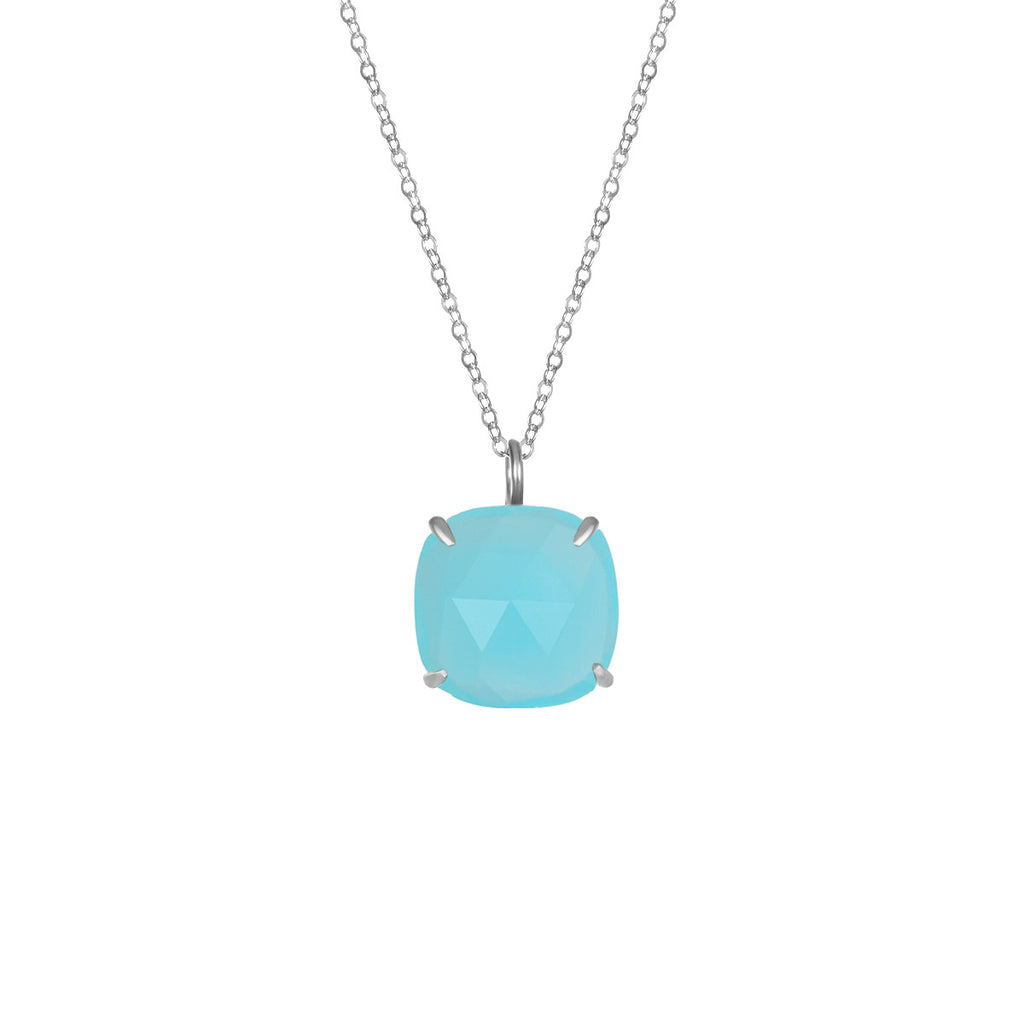 Catalina Single Cushion Necklace Aqua Chalcedony Silver