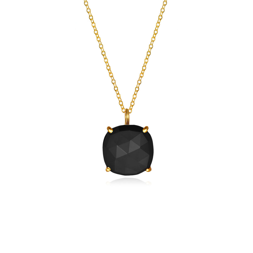 Catalina Single Cushion Necklace Black Gold