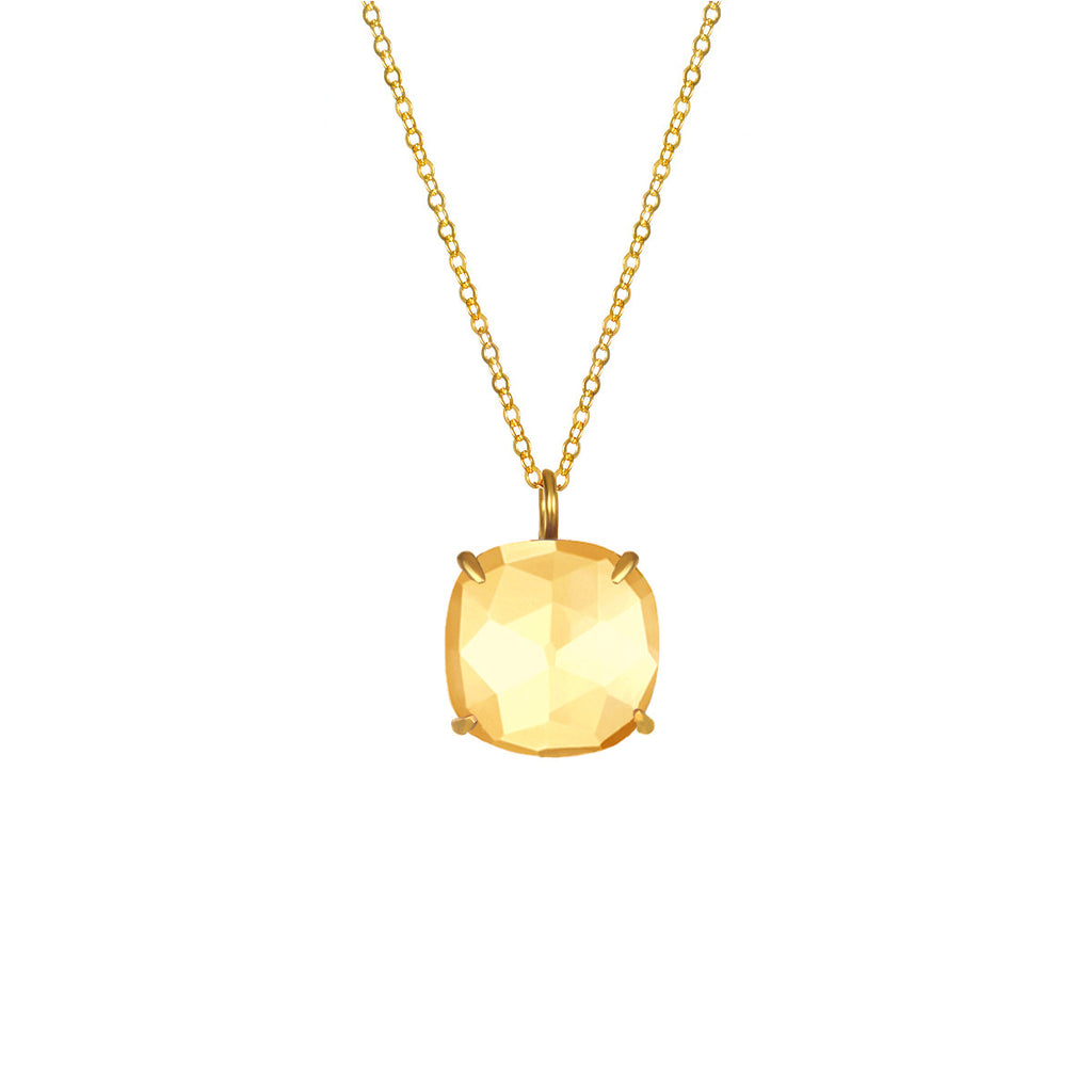 Catalina Single Cushion Necklace Citrine Gold