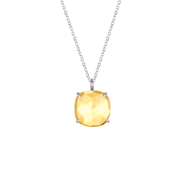 Catalina Single Cushion Necklace Citrine Silver