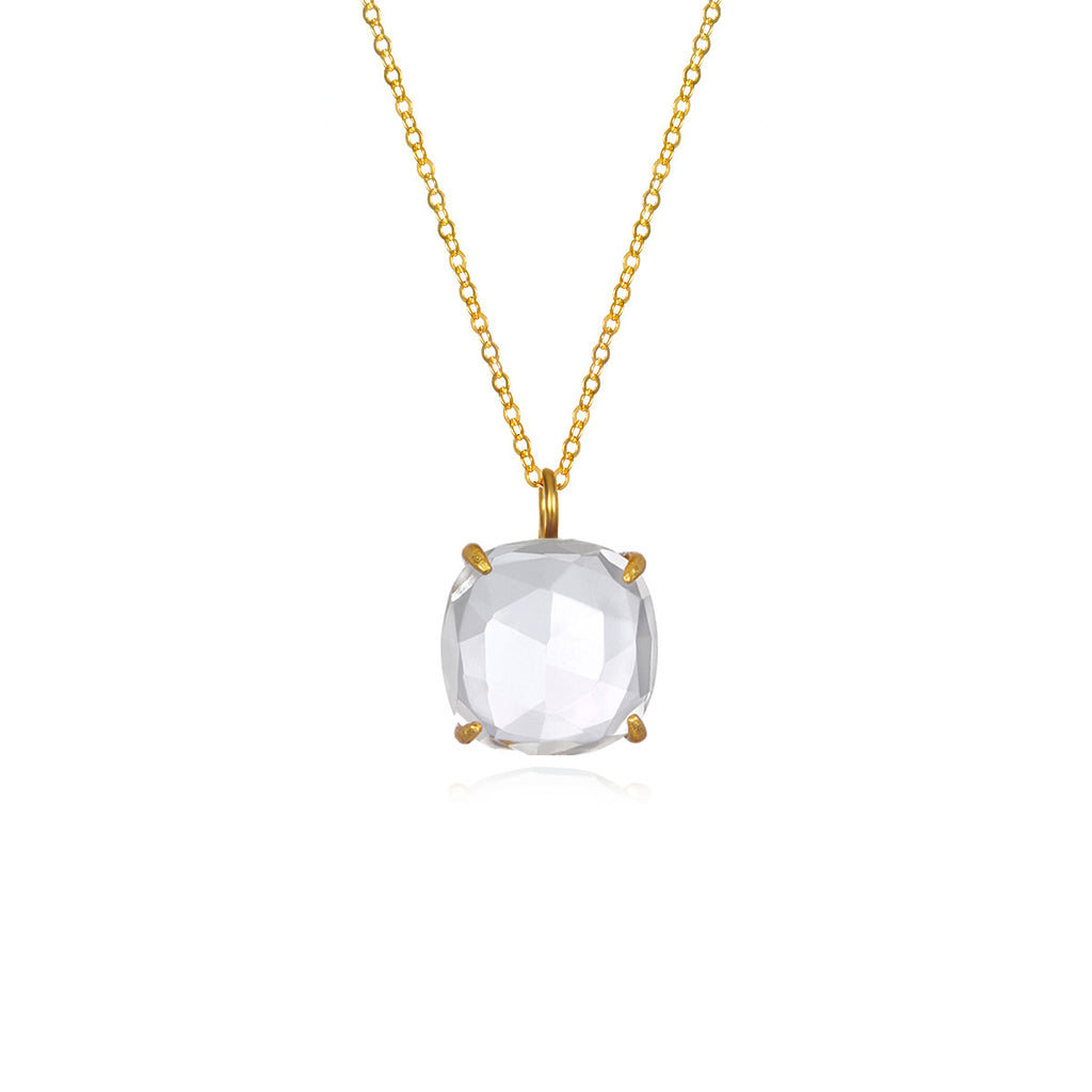 Catalina Single Cushion Necklace Clear Gold