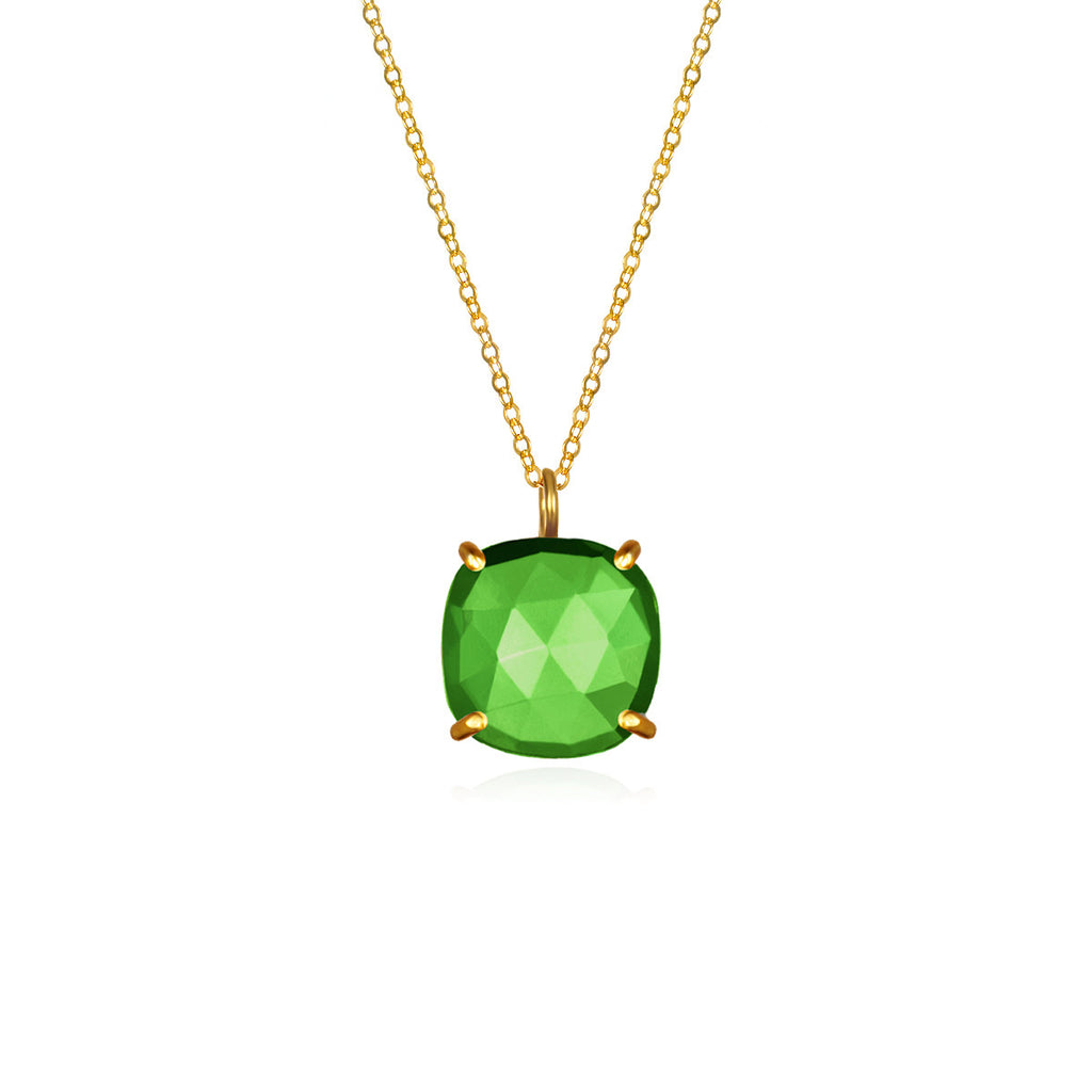 Catalina Single Cushion Necklace Lime Gold