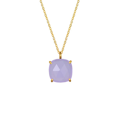 Catalina Single Cushion Necklace Light Purple Gold