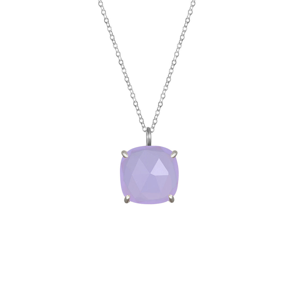 Catalina Single Cushion Necklace Light Purple Silver