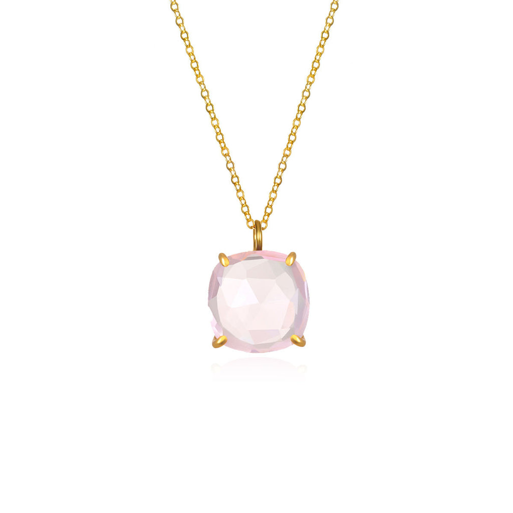 Catalina Single Cushion Necklace Light Pink Gold