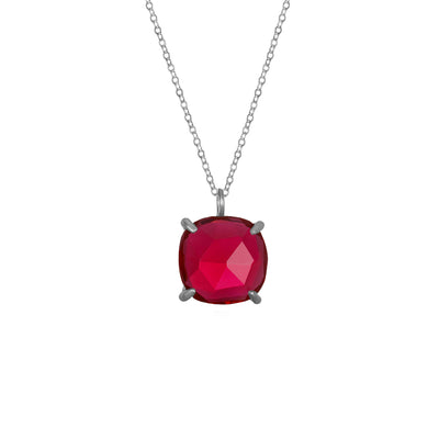Catalina Single Cushion Necklace Ruby Silver