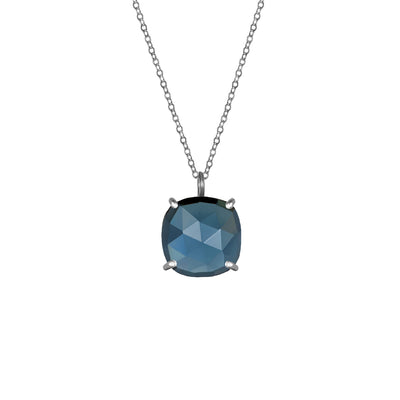 Catalina Single Cushion Necklace Sapphire Silver