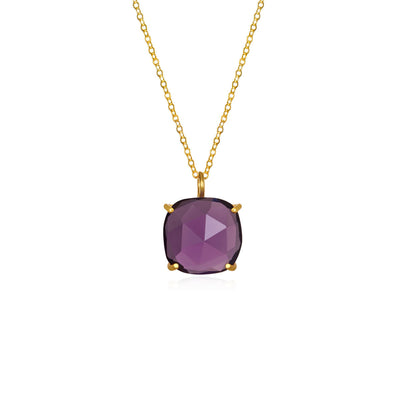 Catalina Single Cushion Necklace Violet Gold