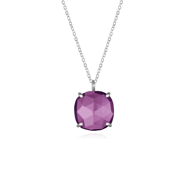 Catalina Single Cushion Necklace Violet Silver