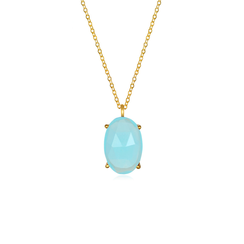 Catalina Single Oval Necklace Aqua Chalcedony Gold