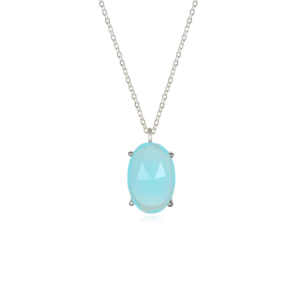 Catalina Single Oval Necklace Aqua Chalcedony Silver