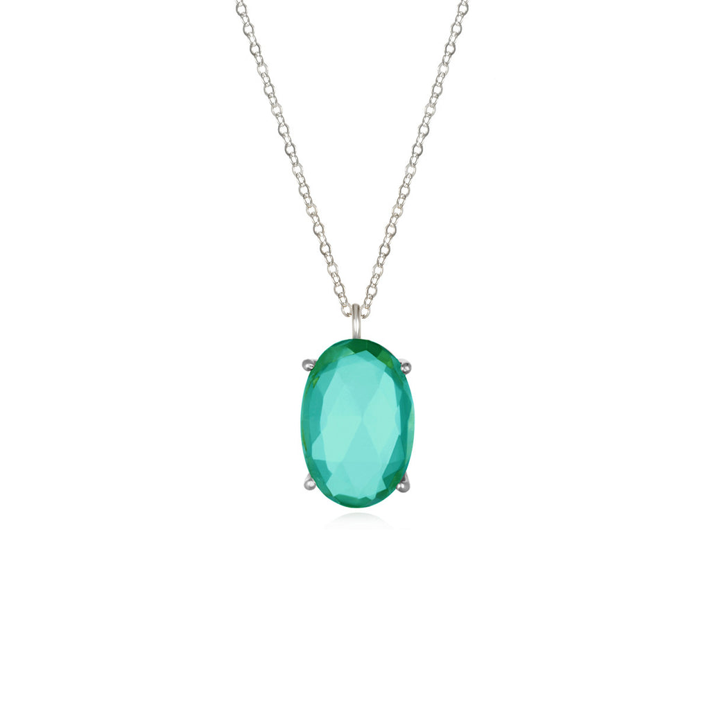 Catalina Single Oval Necklace Aqua Silver