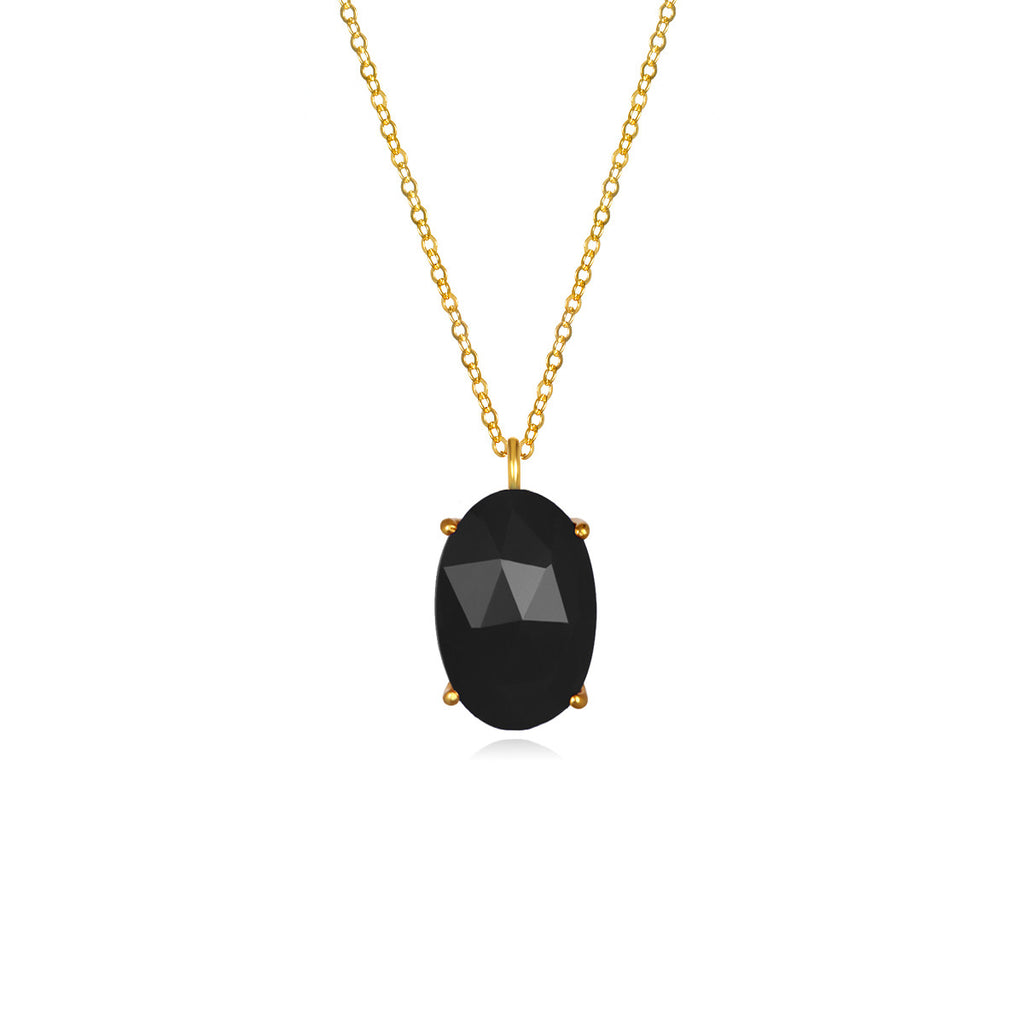 Catalina Single Oval Necklace Black Gold
